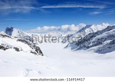 Winter landscape in the Jungfrau region - stock photo