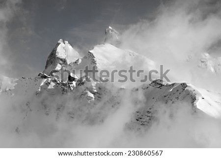 Winter landscape in the mountains - stock photo