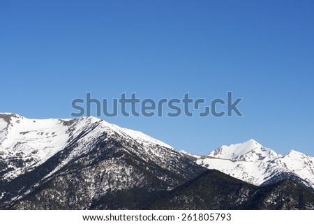 Winter landscape in the Pyrenees, Andorra. - stock photo
