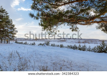 winter landscape in the spruce forest with a frozen river, Russia, Ural - stock photo