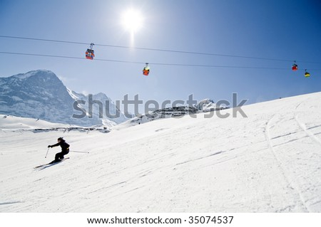 winter landscape in the Swiss alps - stock photo