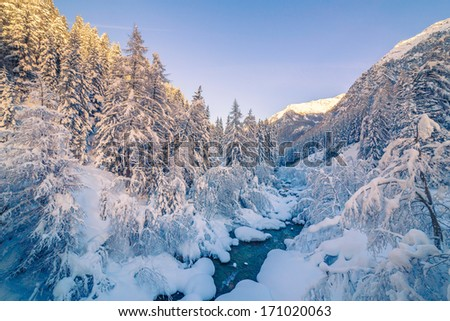 Winter landscape mountains - stock photo