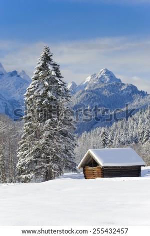 winter landscape nearby castle Elmau in Bavaria - stock photo