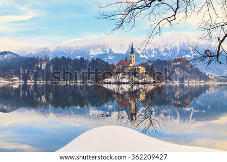 Winter landscape of Bled Lake in Slovenia - stock photo