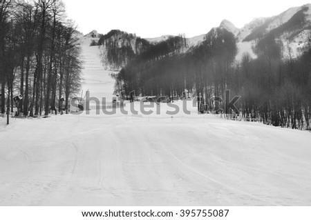 Winter landscape of ski resort in Sochi - stock photo