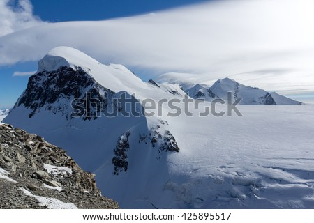 Winter Landscape of swiss Alps and mount Breithorn, Canton of Valais, Switzerland  - stock photo
