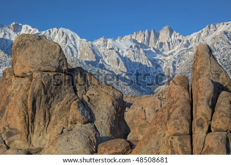 Winter landscape of the Alabama Hills and Mt. Whitney, Eastern Sierra Nevada Mountains, California, USA - stock photo