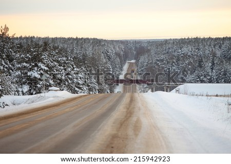 winter landscape snow-covered road in the pine forest frosty day - stock photo