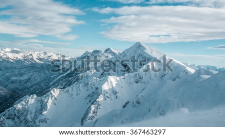 Winter landscape, top of mountains - stock photo