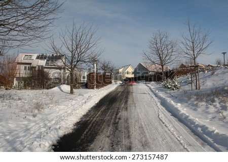 Winter landscape / Town in the winter / Beautiful winter landscape on a sunny day. - stock photo
