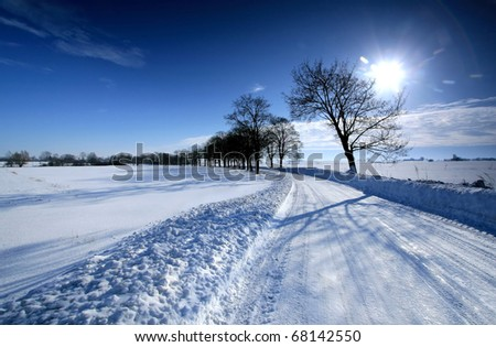 Winter landscape. White snow and crystal blue sky - stock photo