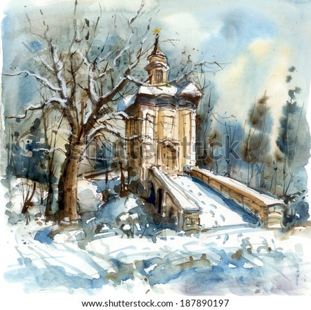 Winter landscape with a chapel, watercolor illustrations - stock photo