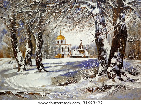 Winter landscape with church in wood - stock photo