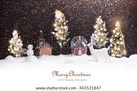 Winter landscape with deer and snow. Christmas background - stock photo
