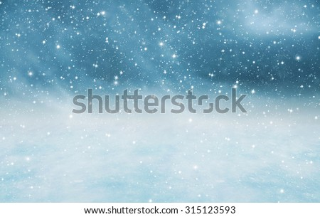 Winter landscape with falling snow - stock photo
