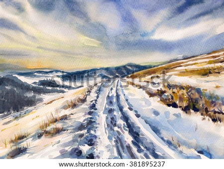 Winter landscape with road in mountains. Picture created with watercolors on paper. - stock photo