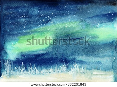 Winter landscape with snowy pine forest and aurora starry sky. Watercolor painting. - stock photo