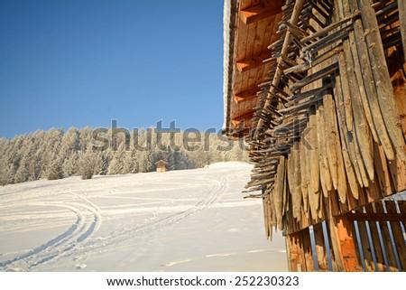 Winter landscape with wooden barn, Pitztal Alps - Tyrol Austria - stock photo