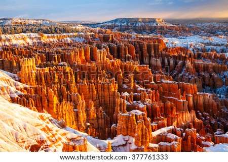 winter morning / Bryce Canyon National Park, Utah, USA - stock photo