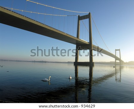 Winter Morning by the Bridge - stock photo