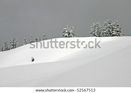 Winter mountain field view. - stock photo