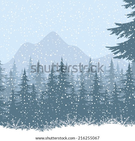Winter mountain landscape with fir trees and snow. - stock photo