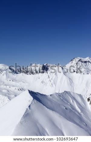 Winter mountains. Caucasus Mountains, Georgia, Gudauri. View from ski slope. - stock photo