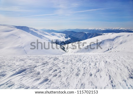 WInter mountains landscape with blue sky in summer sunny day - stock photo