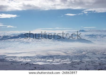 Winter mountains near Mount Ararat, Turkey - stock photo