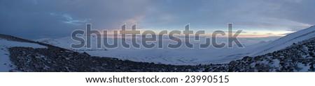 Winter mountains panorama - stock photo
