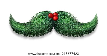 Winter mustache concept decoration made of pine needles and holly berries on a white background as a Christmas or new year symbol for holiday fun and humour. - stock photo