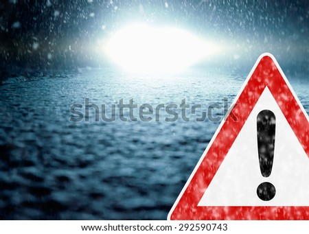 Winter Night Driving - Winter Road - Caution Sleekness - stock photo