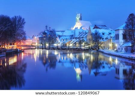 Winter night in small bavarian town near Munich - stock photo