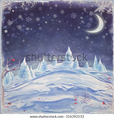 Winter night landscape. Merry Christmas and Happy new year background - stock photo