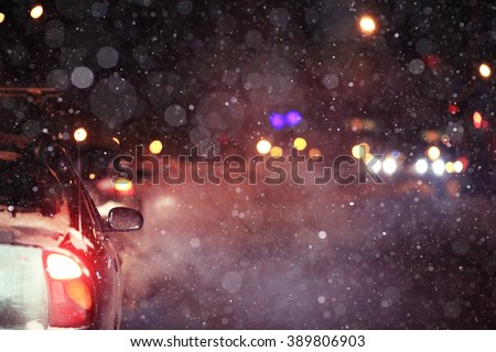 winter night road snow background - stock photo