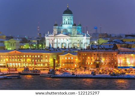 Winter night scenery of the Old Town in Helsinki, Finland - stock photo