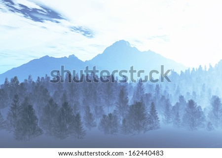 Winter Northern Night Illustration - stock photo