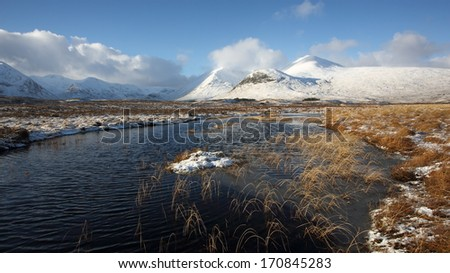 Winter on Rannoch Moor in the Scottish Highlands. - stock photo