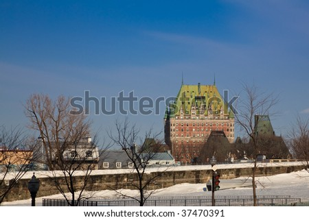 Winter panorama of Quebec City with Chateau Frontenac - stock photo