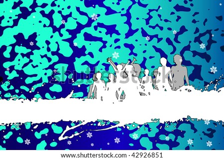 winter party peoples, audience cheering success. XXL jpeg image made from vector - stock photo