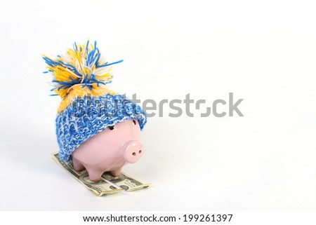 Winter piggy bank with hat pom-pom standing on skies of greenback hundred dollars on the white background - stock photo