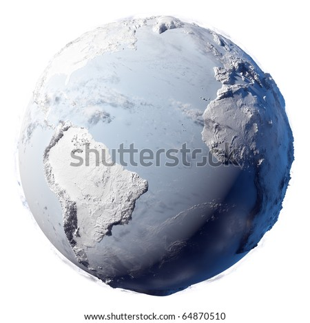 Winter planet Earth - covered in snow and ice planet with a real detailed terrain, soft shadows and volumetric clouds on a white background - stock photo