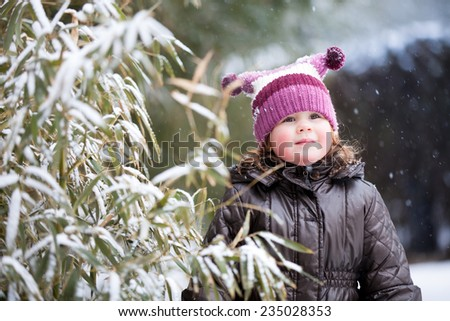 Winter Portrait of Laughing Little Girl - stock photo