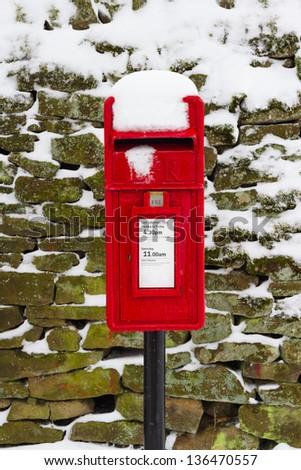 Winter Postbox - stock photo