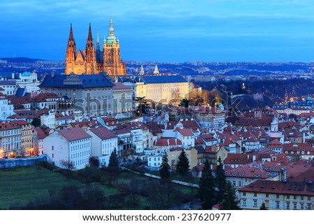 Winter Prague with gothic Castle after sunset, Czech Republic - stock photo