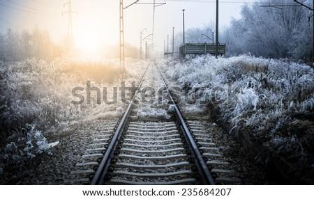 Winter railroad.  - stock photo