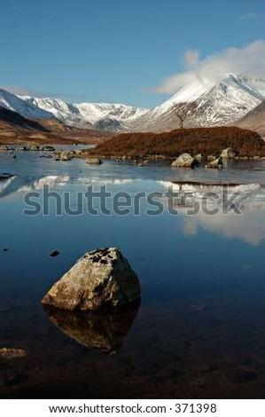 winter reflections - stock photo