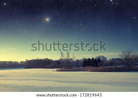 winter river at night. Elements of this image furnished by NASA - stock photo
