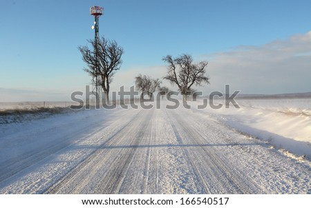 Winter road drit snow with - stock photo