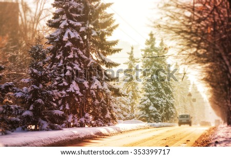 Winter road in the city - stock photo